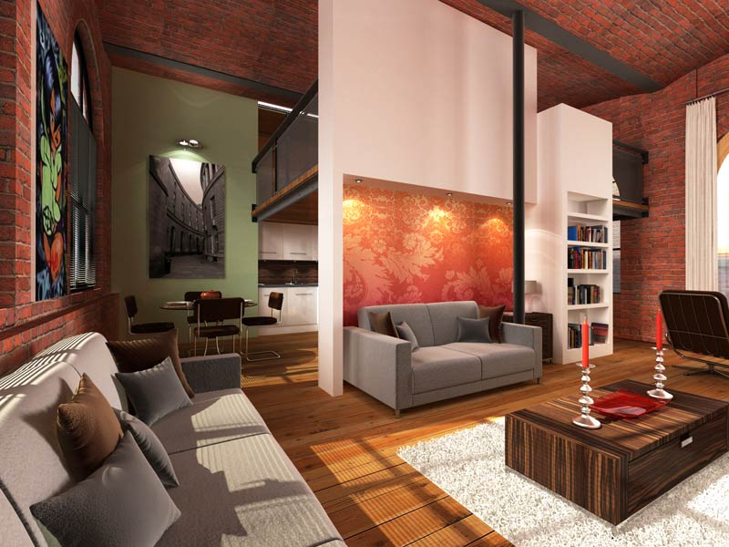 Vaulted warehouse apartment jabster design and visualisation - The apartment in the warehouse ...